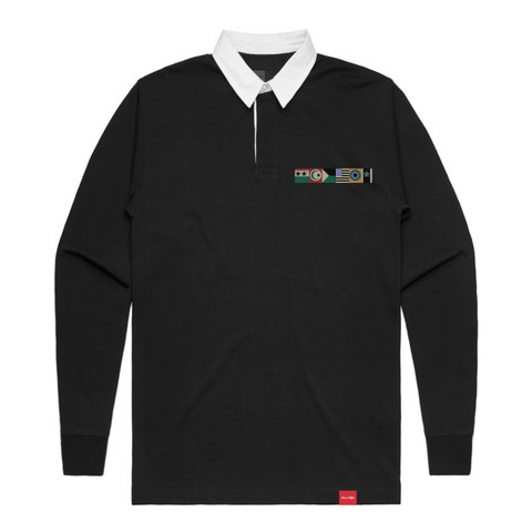 chocolate giant flag long sleeve rugby polo (black)