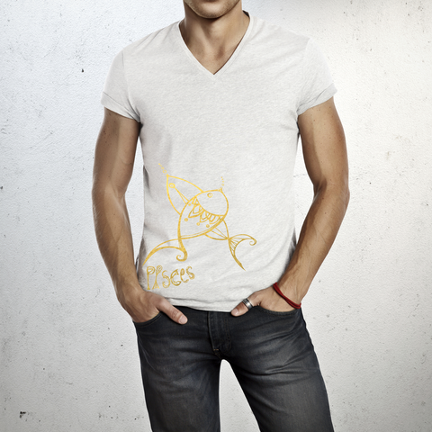 Pisces - V neck t-shirt for him