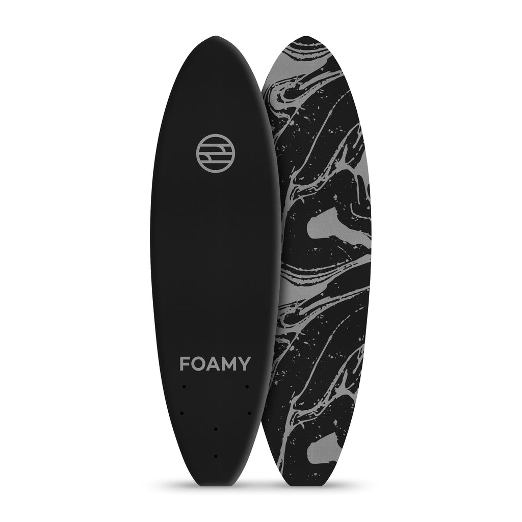 "5'6"" Black and Gray Wiley Softop Surfboard"