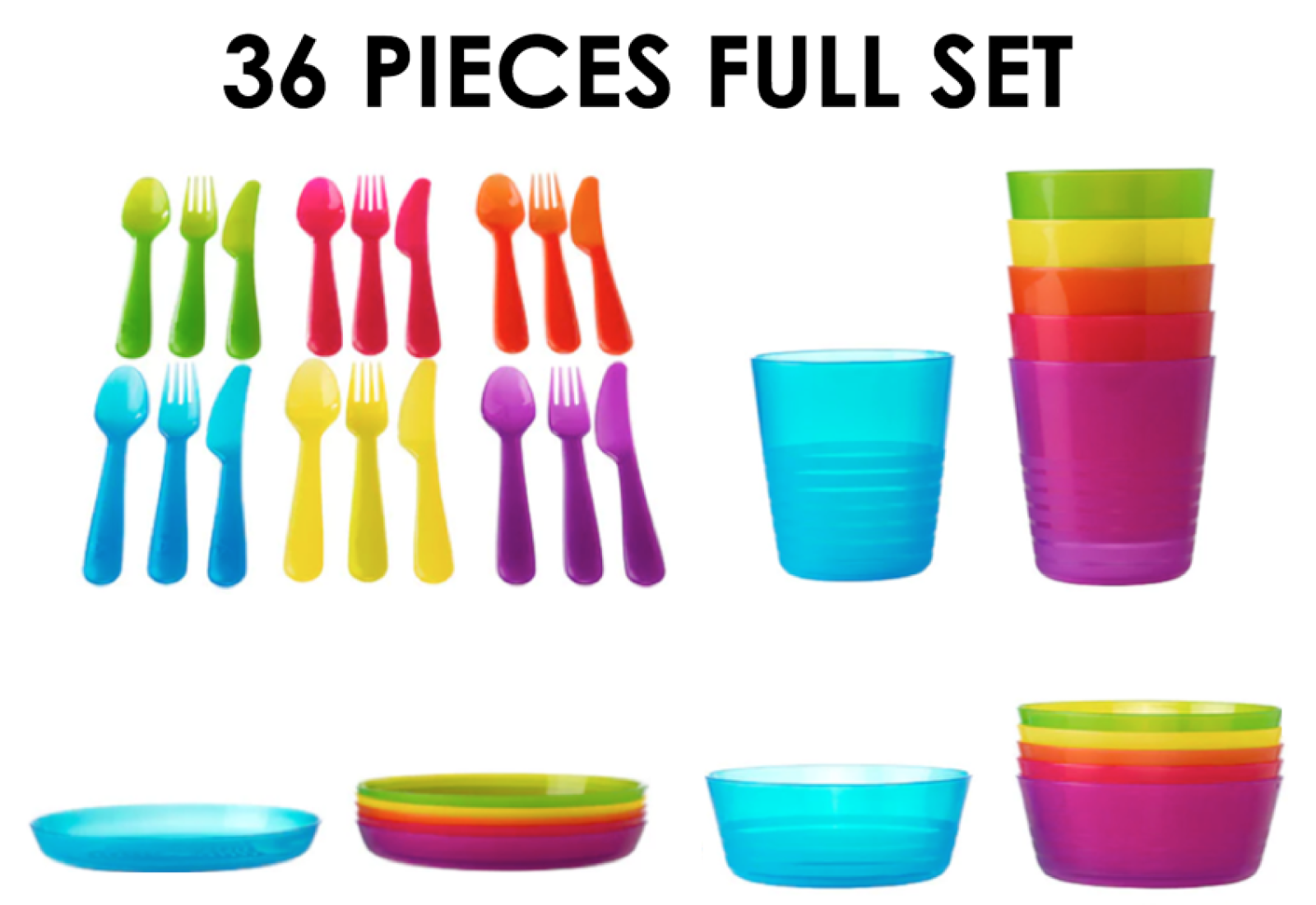 Ikea Children\'s Plastic Bowls Cups Plates Cutlery Kalas Set or ...