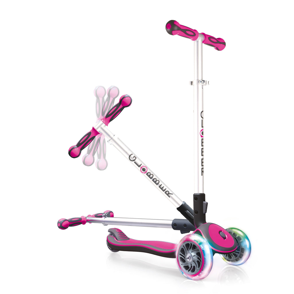Globber Elite 3 Wheel Folding Adjustable Height Scooter w/ LED Light Up Wheels
