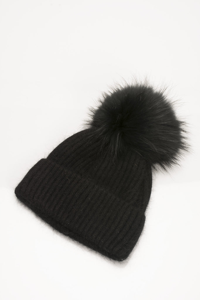 f3299a195 Angora Knit Pom Pom Hat - Black
