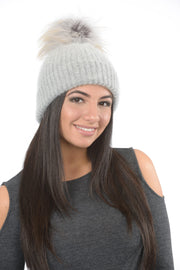 Angora Knit Pom Pom Hat - Grey