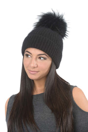 Angora Knit Pom Pom Hat - Black