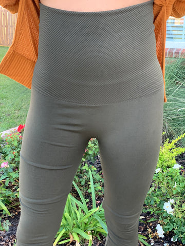 OLIVE TUMMY CONTROL LEGGINGS