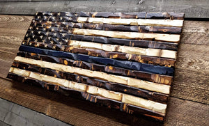 Thin Blue Line Wood Flag