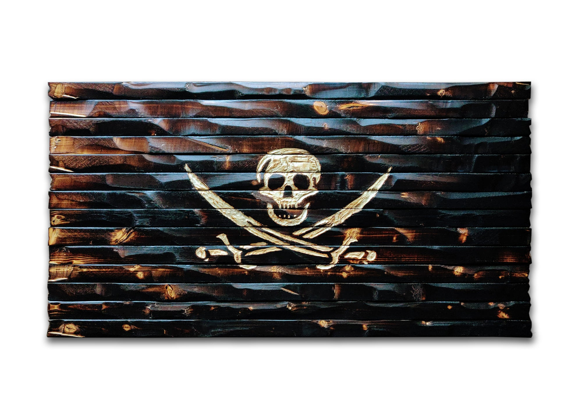 Jolly Roger Carved and Charred Wood Flag