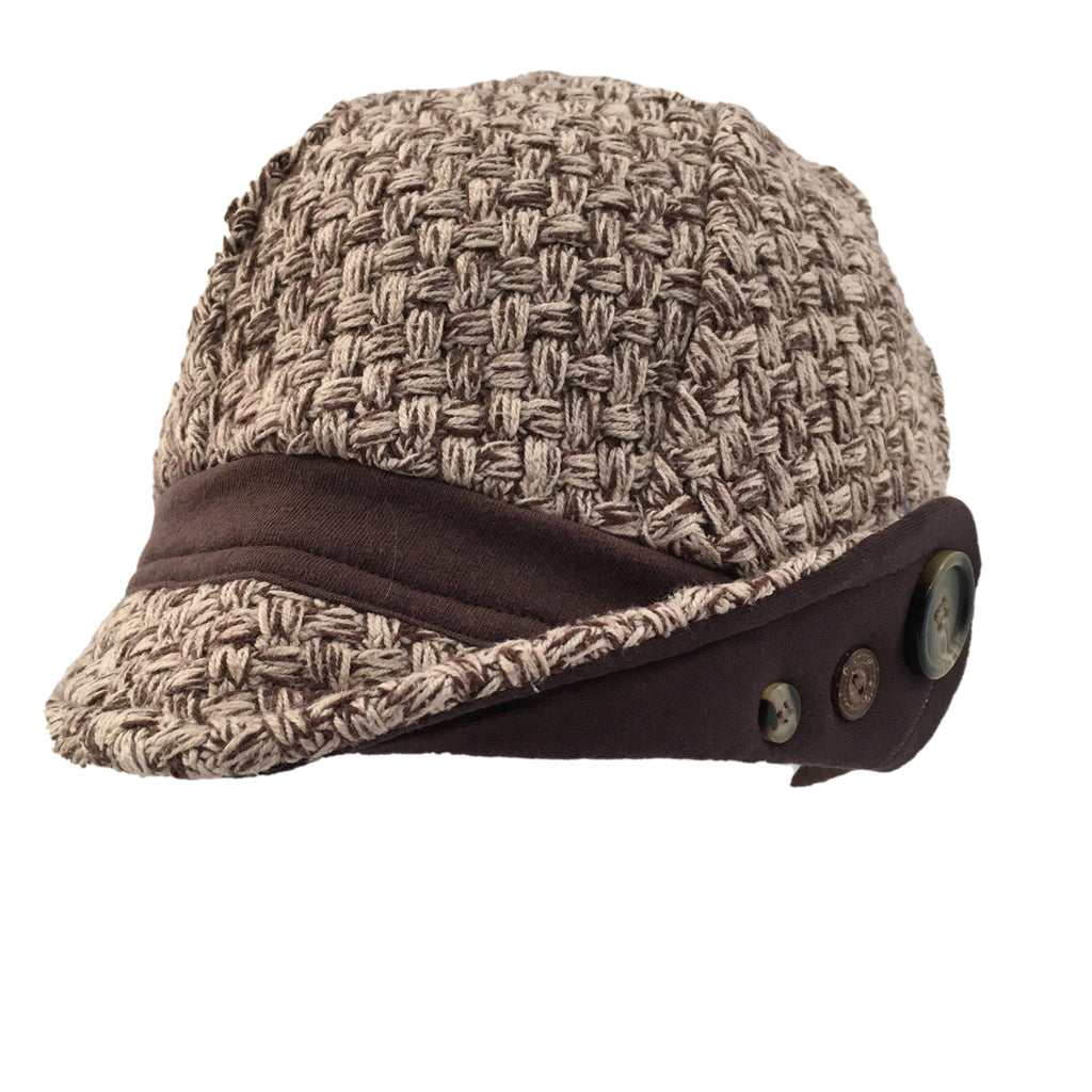 Hat, Brown & Ecru Cap
