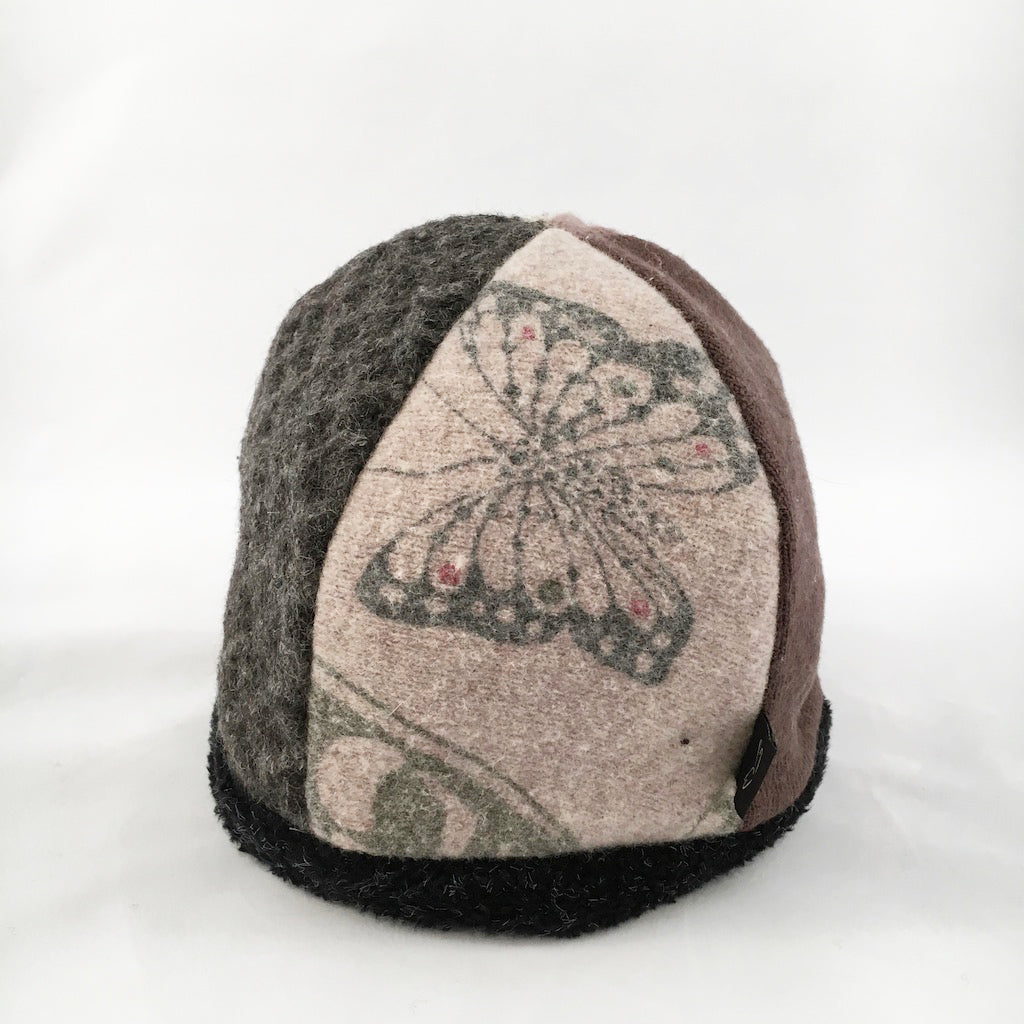 Hat Beanie in Naturals w/Butterfly Design