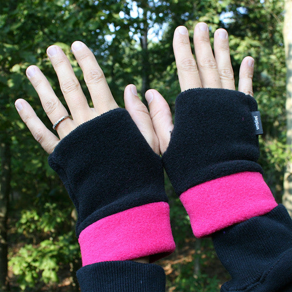 Wristies Cuffs Black & Hot Pink, Adult Small