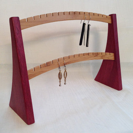 Earring Stand, Purple Heart & Bamboo