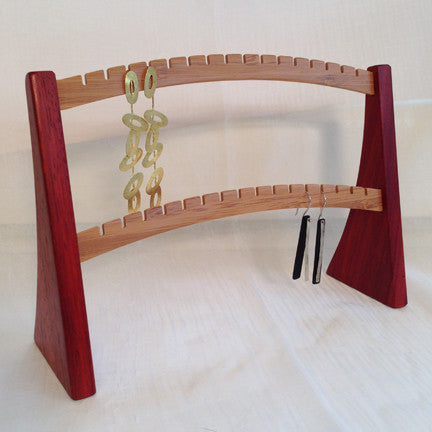 Earring Stand, Padouk & Bamboo