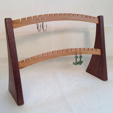 Earring Stand, Walnut & Bamboo