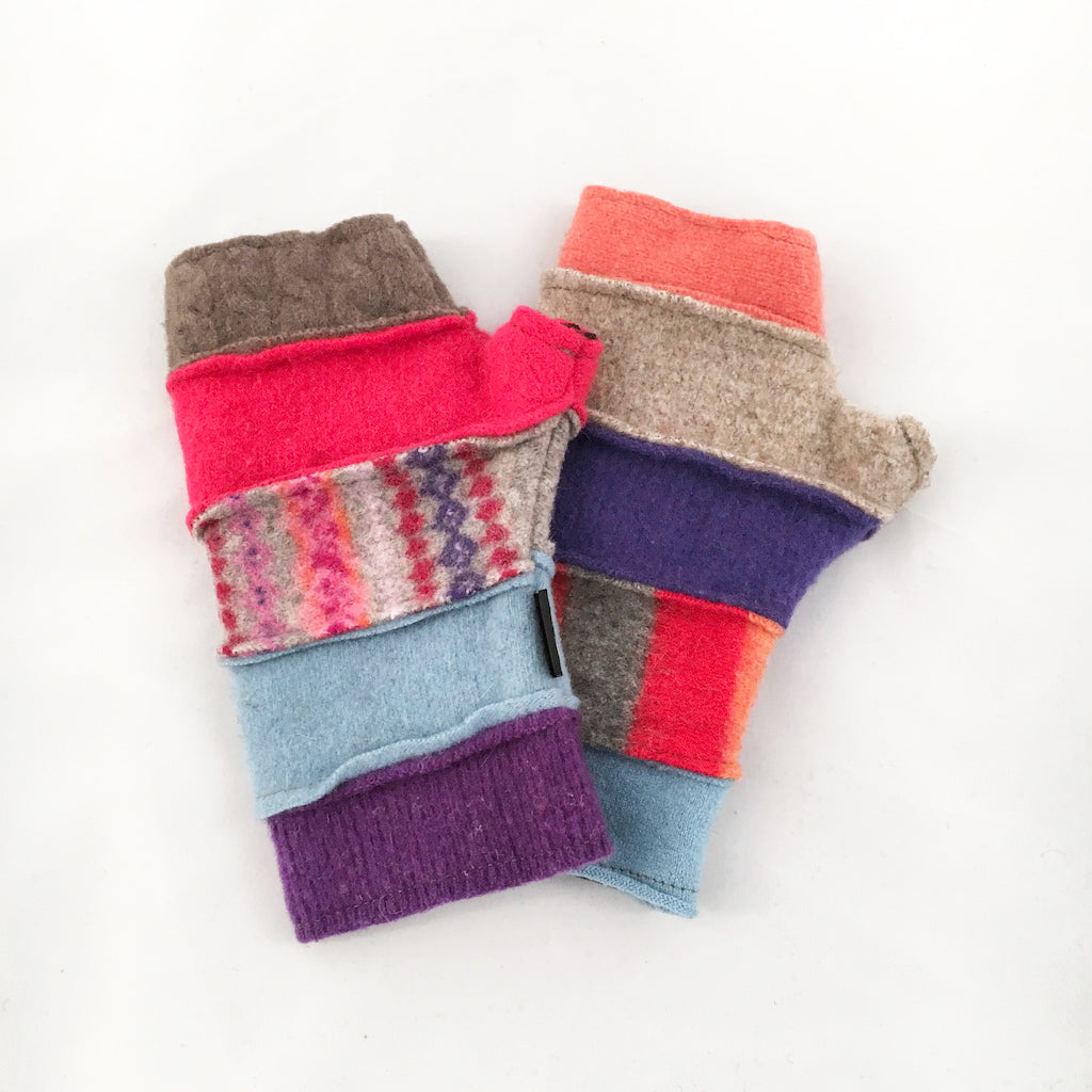 Fingerless Gloves in Multi-Color Brights