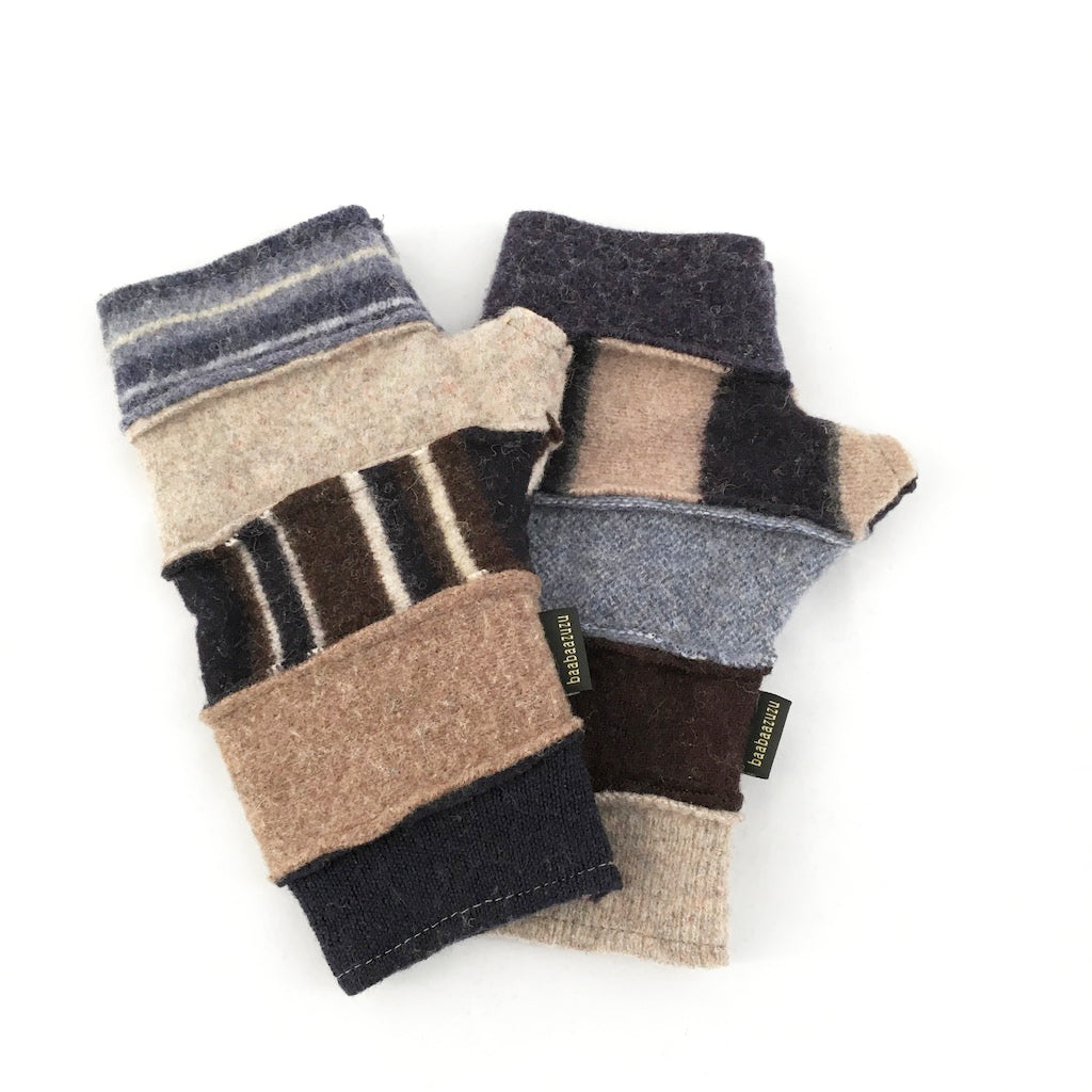 Fingerless Gloves in Warm Browns & Grays