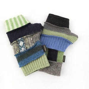 Fingerless Gloves in Naturals w/Blues & Greens