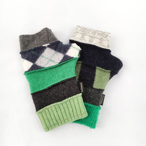 Fingerless Gloves in Greens & Grays