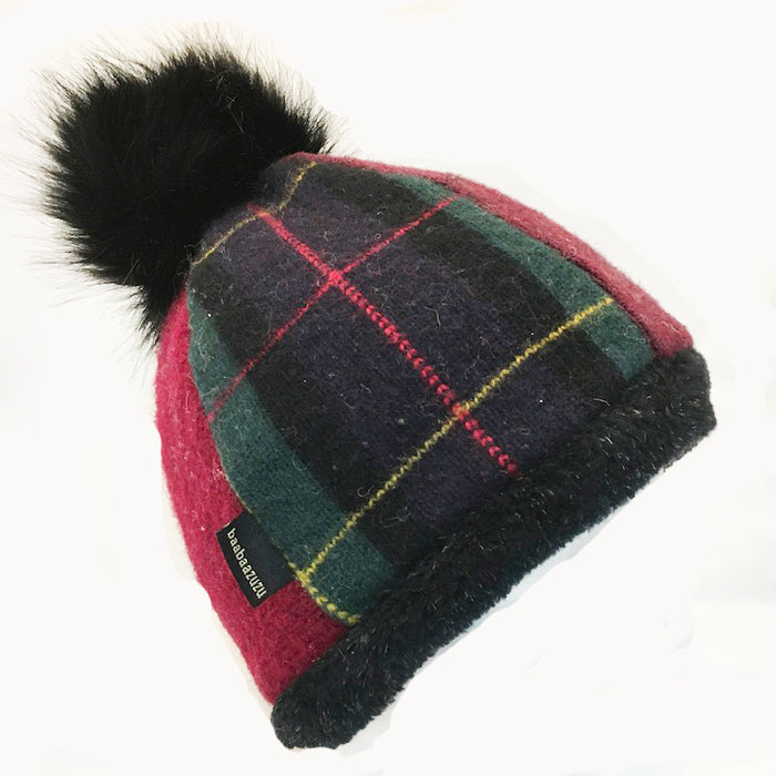 Beanie Hat w/Pom in Red-Navy Plaid