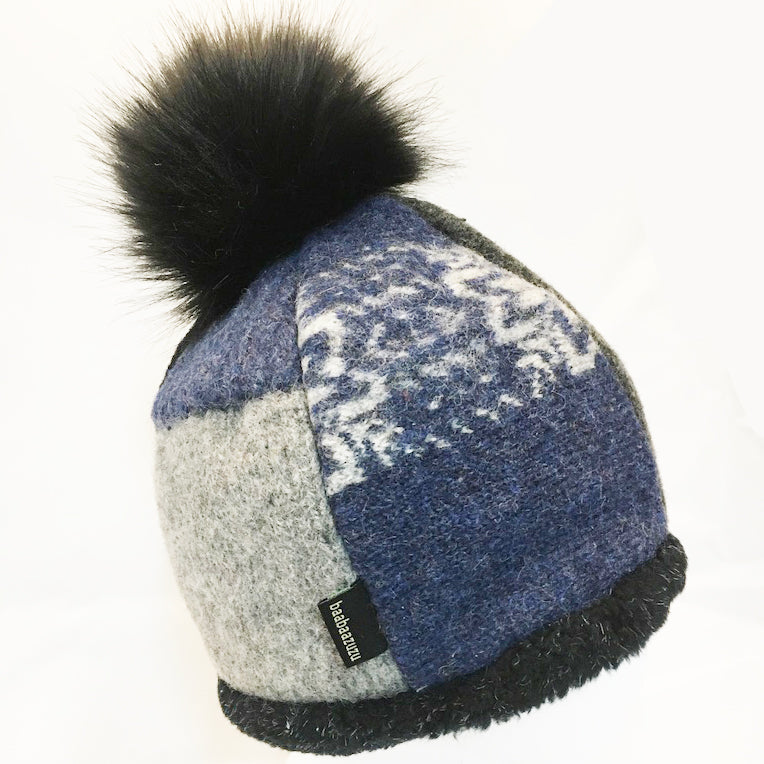 Beanie Hat w/Pom in Denim
