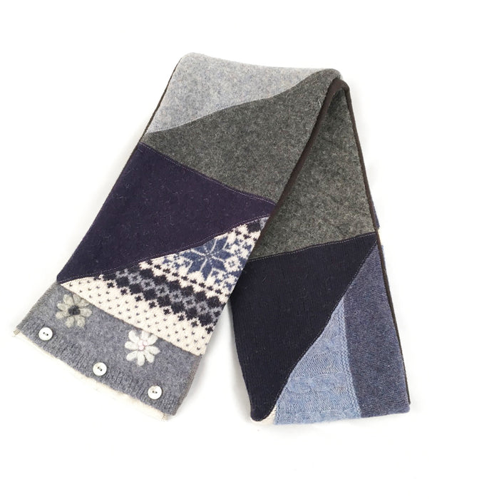 Knit Scarf in Navy & Gray
