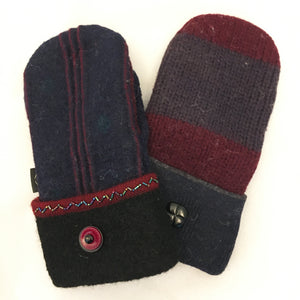 Mittens in Burgundy & Navy