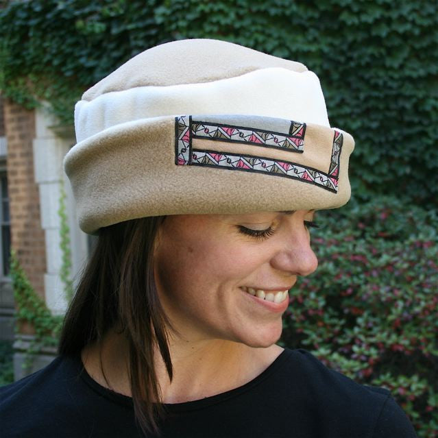 Red Rover Notch Hat, Sand & Cream w/Ribbon Trim, Sz L