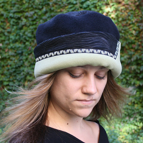Red Rover Wavy-Top Hat, Celery & Black w/Trim, Sz L