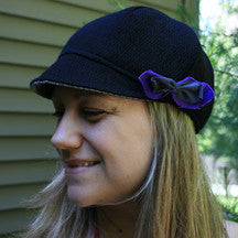Bella Hat, Black w/Purple Bow