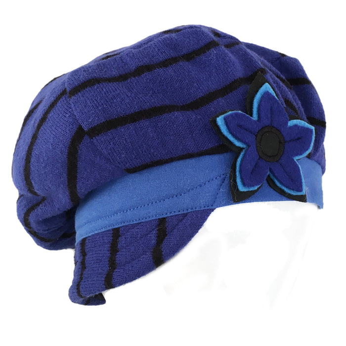 Hat, Bright Blue & Black Stripe