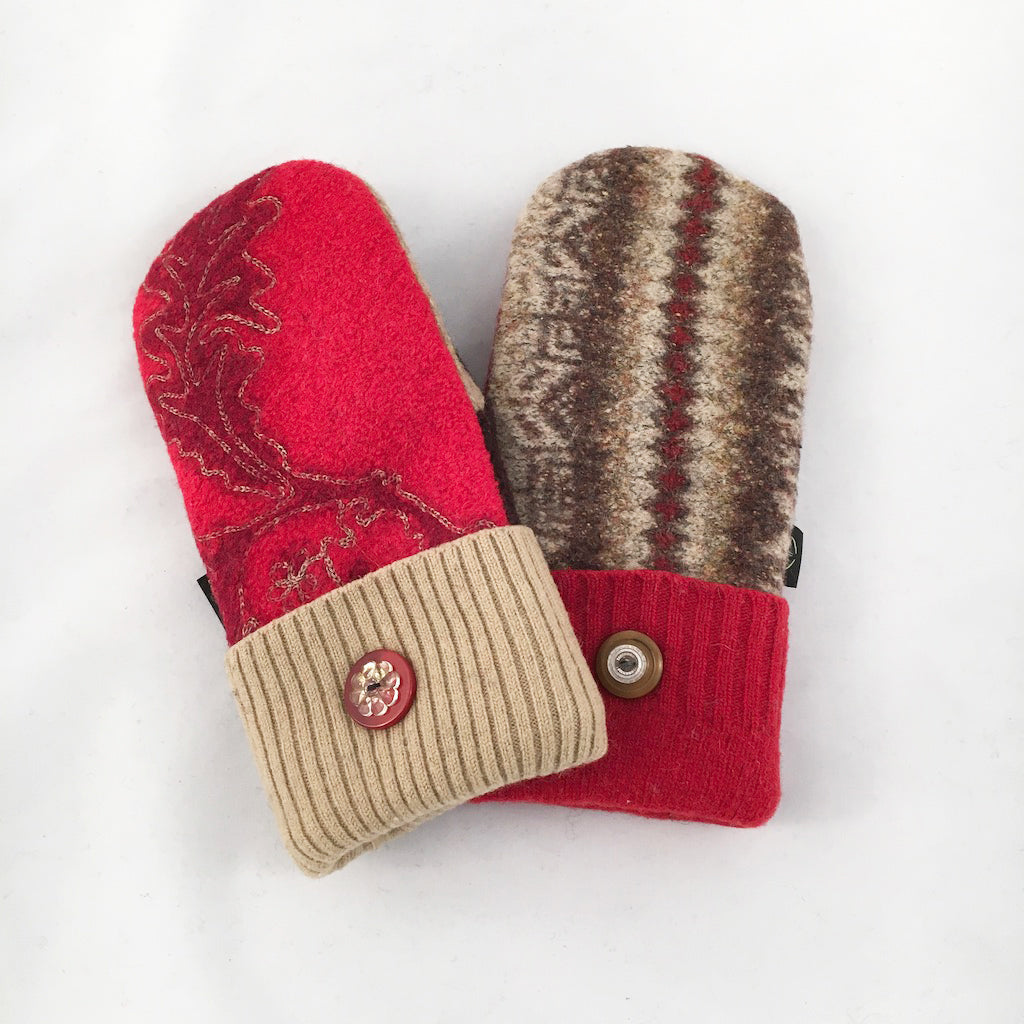 Mittens in Reds & Warm Brown