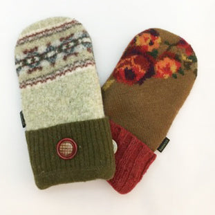 Mittens in Warm Brown, Greens & Deep Red Accents
