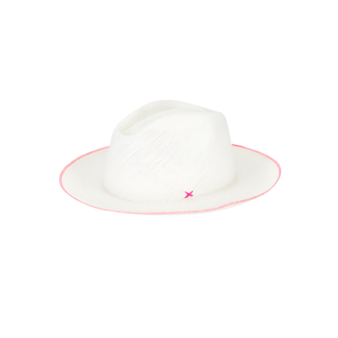 atresano paresi classico panama hat white with neon pink stitch