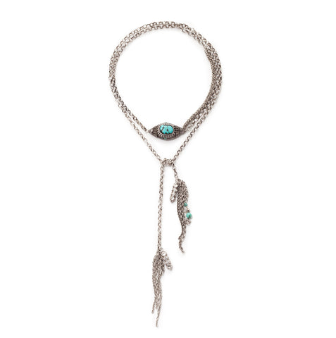 Turquoise and silver charm lariat