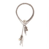 antique coin and silver charm lariat