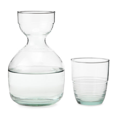 recycled glass tumbler and carafe