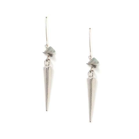 Tailfeather silver and malachite spike earrings at maeree