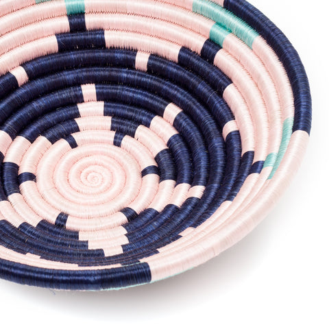 navy and pink sweetgrass basket at maeree