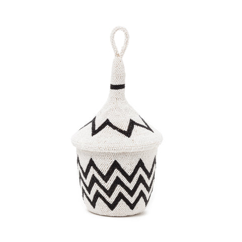 Indego Africa black and white zig zag beaded basket at maeree
