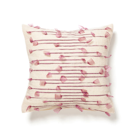 Moroccan wool pillow with ribbon detail