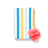 Mexican striped beach blanket with pom poms