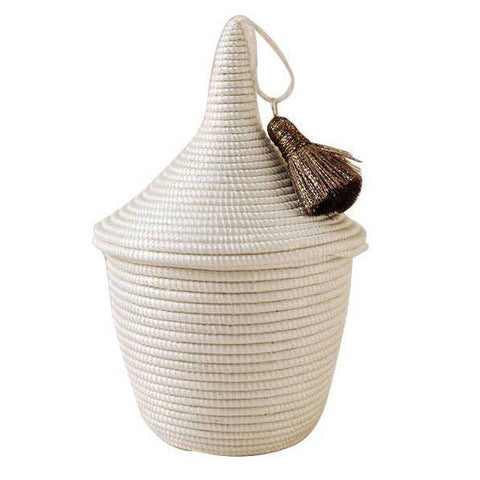 white mini peace basket from indego africa at maeree
