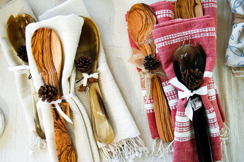 Organic Cotton Towel & Horn Servers