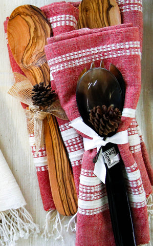 Ruby Towel & Olivewood Spoon Gift