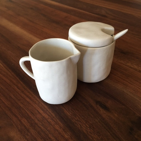 sugar and cream set, white stoneware at maeree