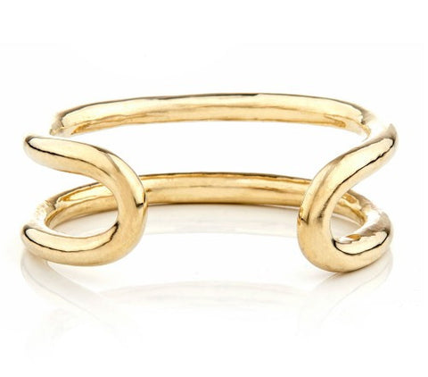 Pico brass oval wrap bracelet at maeree