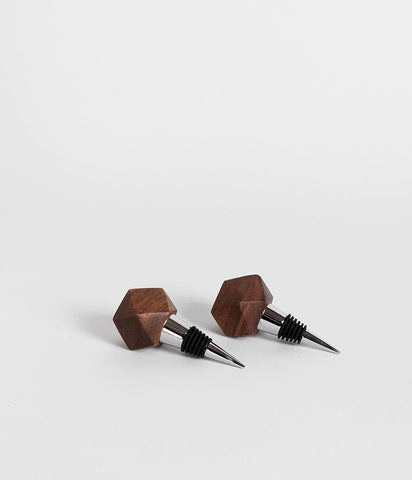 rose & fitzgerald mugavu wood geometric bottle stopper at maeree