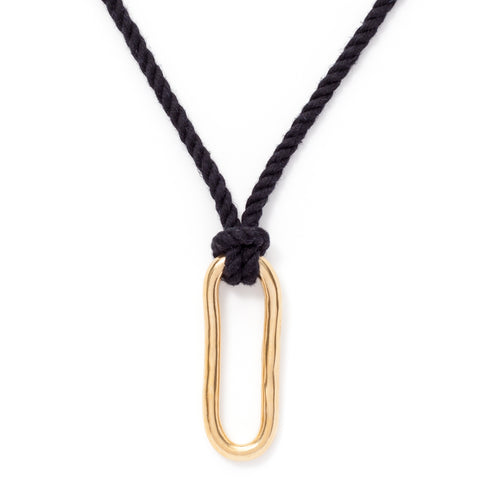 pico oval brass necklace black cord maeree