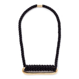 pico wide oval brass necklace black cord maeree
