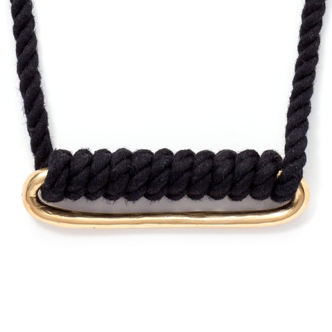 wide oval brass necklace black cord at maeree