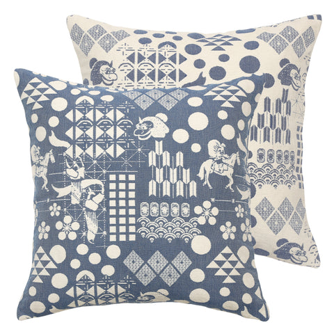 safomasi blue festival woven pillow at maeree